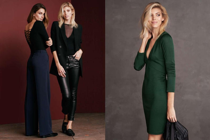 (Left) H&M Laced Bodysuit, Wide-Leg Pants and Pointed-toe Leather Shoes (Middle) H&M Double-Breasted Jacket, Mesh Top, Biker Pants and Leather Loafers (Right) H&M Fitted Dress