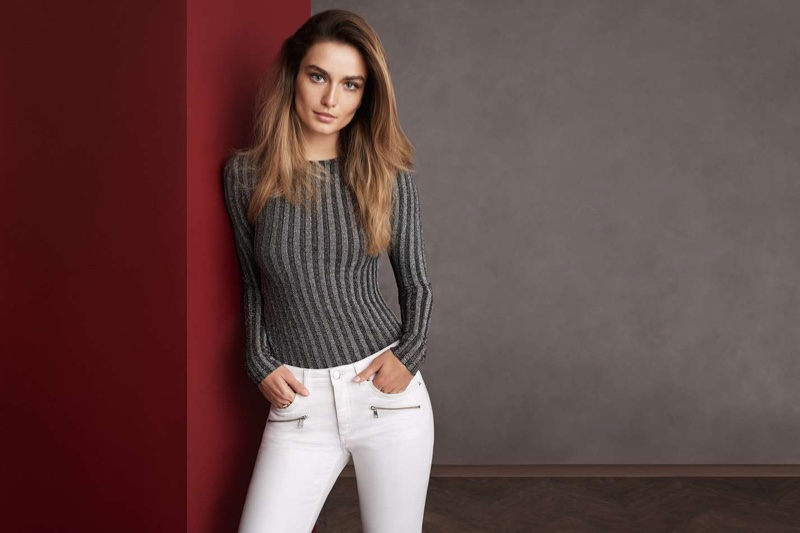 H&M Glittery Top and Skinny Low Ankle Jeans