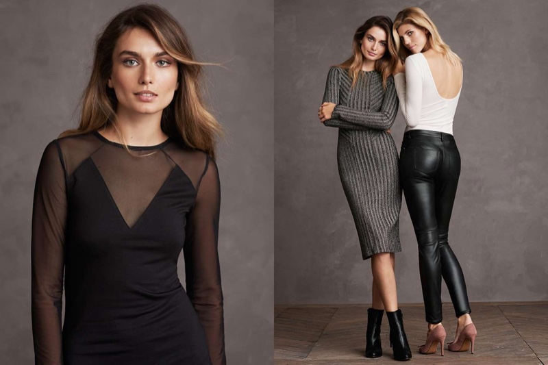 (Left) H&M Fitted Dress (Middle) H&M Glittery Dress and Ankle Boots with Lacing (Right) H&M Ribbed Jersey Top, Biker Pants and Pumps