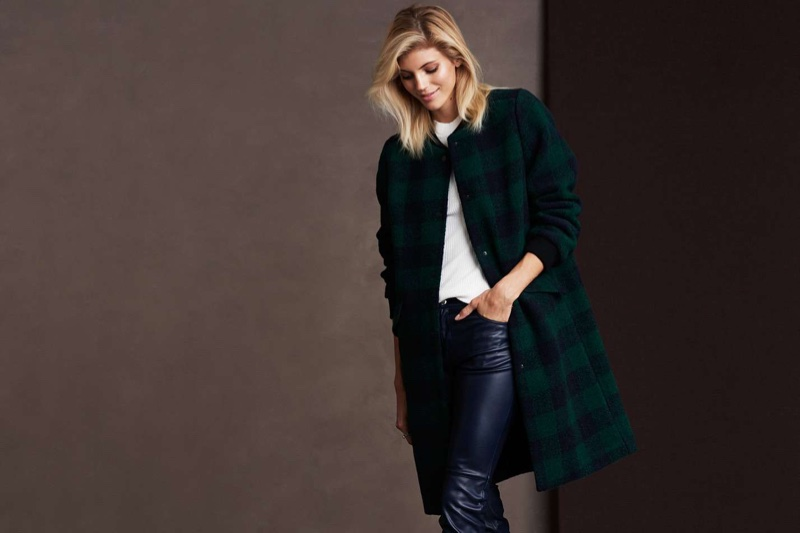 H&M Felted Coat, Open-Shoulder Top and Faux Leather Leggings