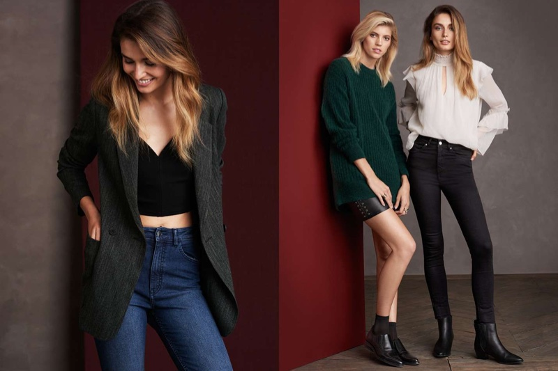 (Left) H&M Double-Breasted Jacket, Short Top and Slim-fit Pants with High Waist (Middle) H&M Chunky-Knit Sweater, Skirt with Lacing and Pointed-toe Leather Shoes (Right) Crinkled Flounced Blouse, Shaping Skinny High Jeans and Ankle Boots