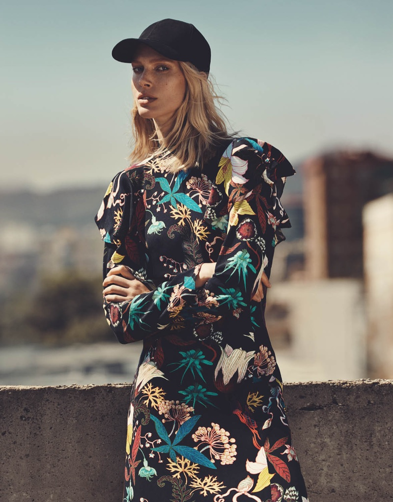 H&M Cap and Patterned Dress