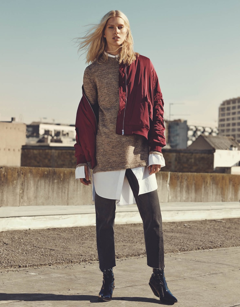 H&M Bomber Jacket, Knit Tunic, Long Cotton Shirt, Straight Ankle Jeans and Patent-Leather Boots