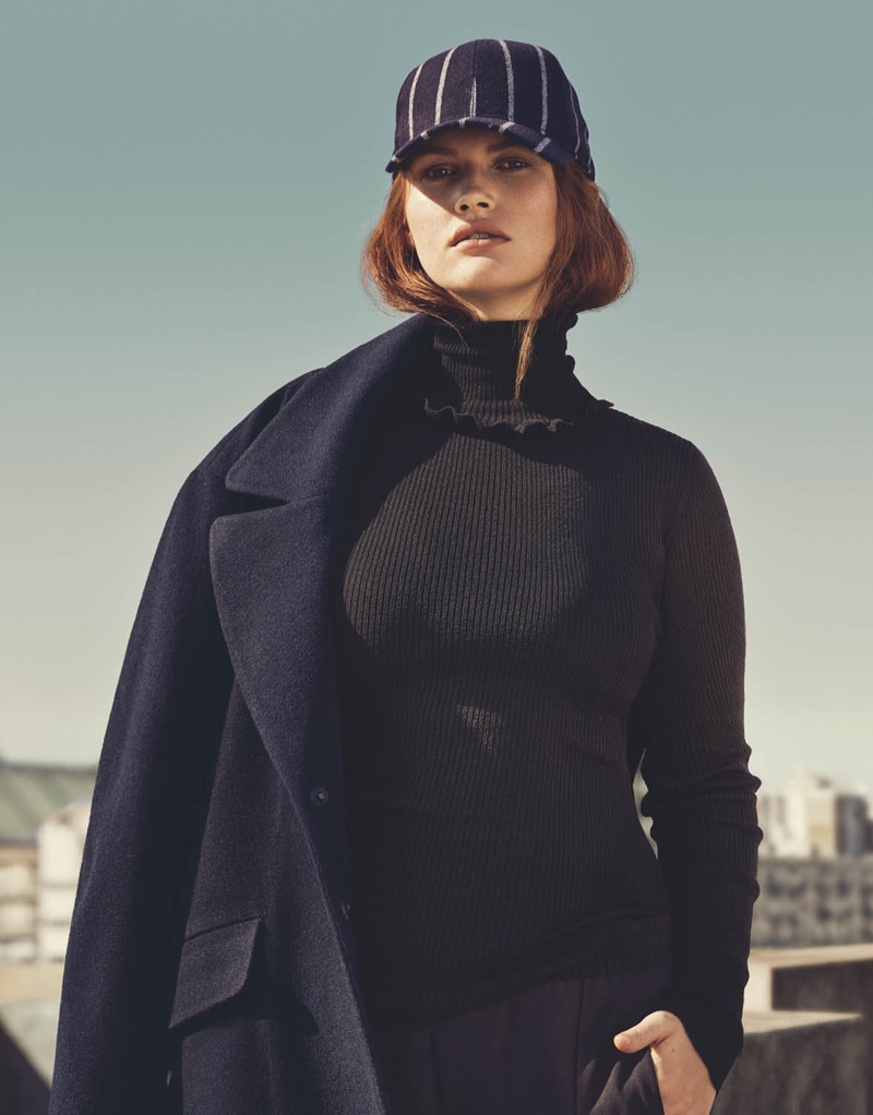 H&M Wool-Blend Cap, Ruffled Turtleneck Sweater, Wool-Blend Coat and Wide-Leg Pants