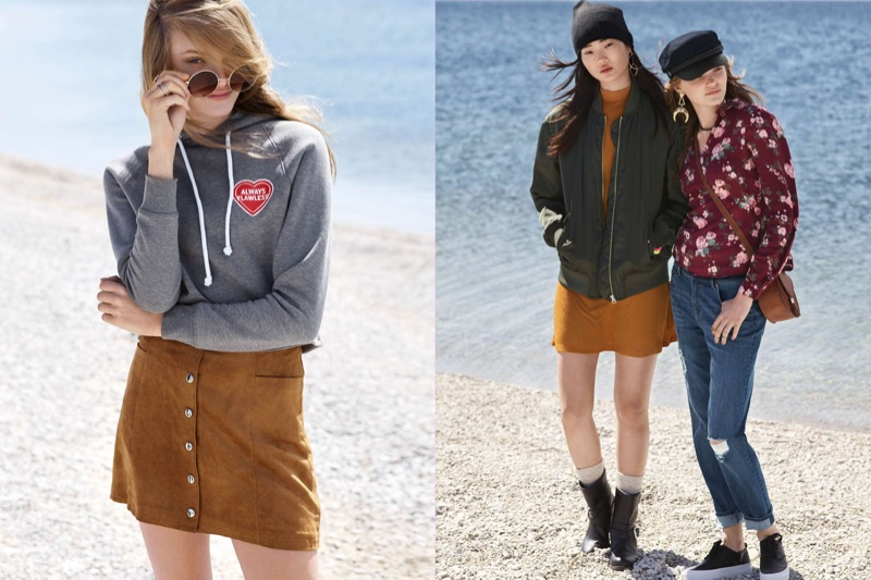 (Left) H&M Short Hooded Top, Round Sunglasses and A-Line Skirt (Middle) H&M Knit Hat, Satin Pilot Jacket, Mock-Turtleneck Jersey Dress and Biker Boots (Right) H&M Captain's Cap, Boyfriend Low Trashed Jeans and Platform Sneakers