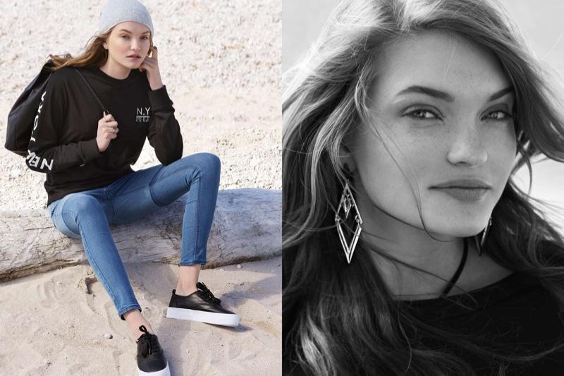 (Left) H&M Knit Hat, Sweatshirt with Printed Design, Super Skinny Regular Jeans and Platform Sneakers (Right) Rhomboid Earrings