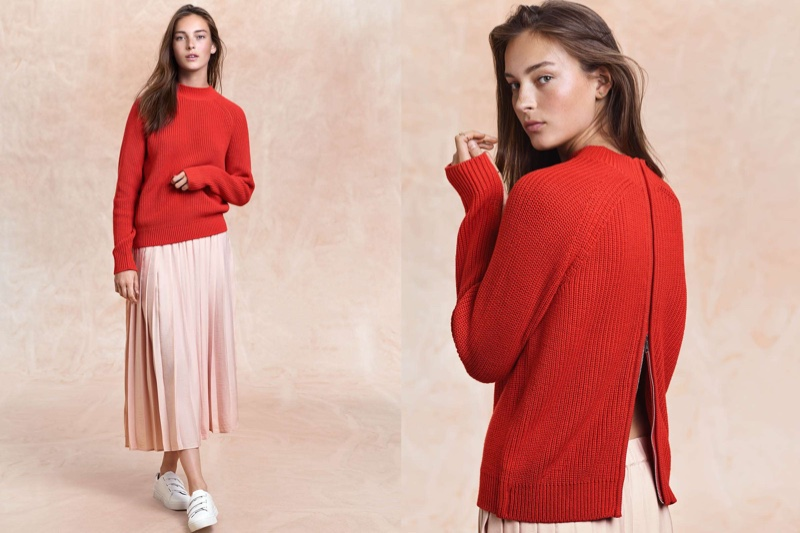 H&M Knit Mock-Turtleneck Sweater, Pleated Skirt and Sneakers