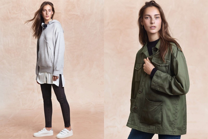 (Left) H&M Hooded Sweatshirt, Long Shirt, Shaping Skinny Regular Jeans and Sneakers (Right) H&M Cargo Jacket, Ribbed Mock Turtleneck Sweater and Jeggings with Side Stripes
