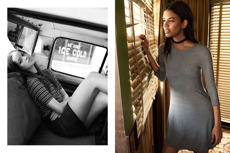 (Left) H&M Mock-Turtleneck Top and Circle Skirt (Right) H&M Jersey Dress