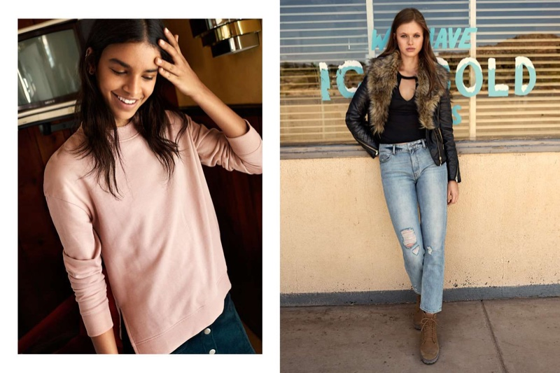 (Left) H&M Sweatshirt and A-Line Skirt (Right) H&M Biker Jacket, Jersey Top, Girlfriend Trashed Jeans and Pile-Lined Boots