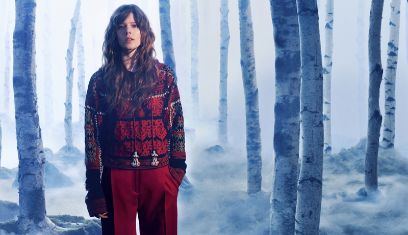 H&M Studio's fall 2016 campaign features embroidered hooded jacket with red pants