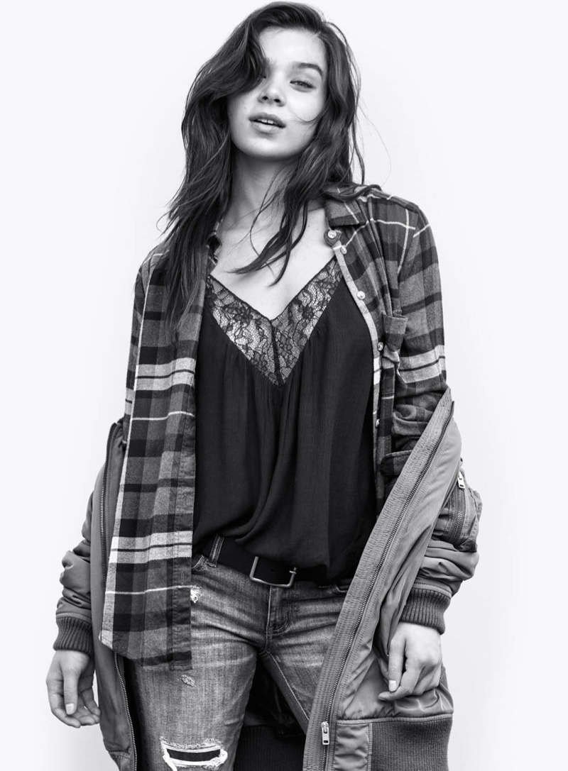 Hailee Steinfeld wears a plaid top, camisole top and denim in American Eagle Outfitters' fall 2016 campaign