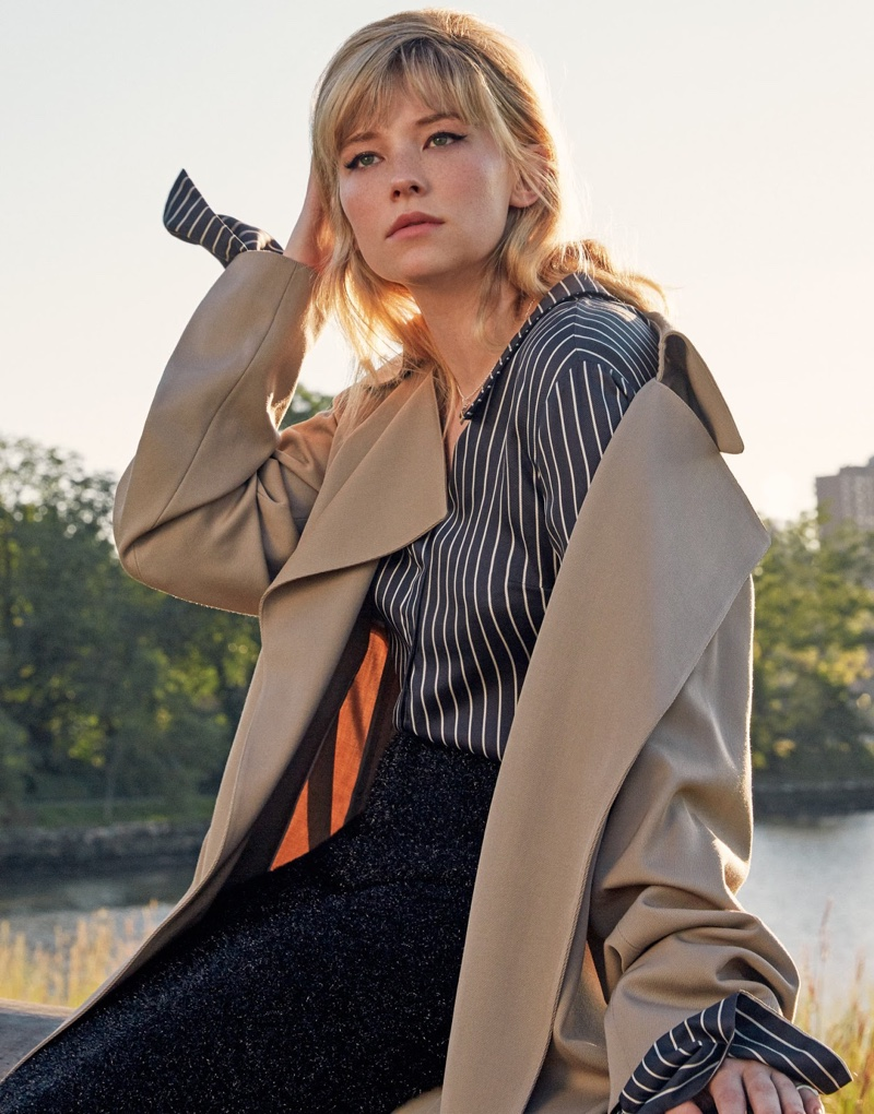 Haley Bennett wears The Row coat, Monse striped shirt and Calvin Klein Collection skirt