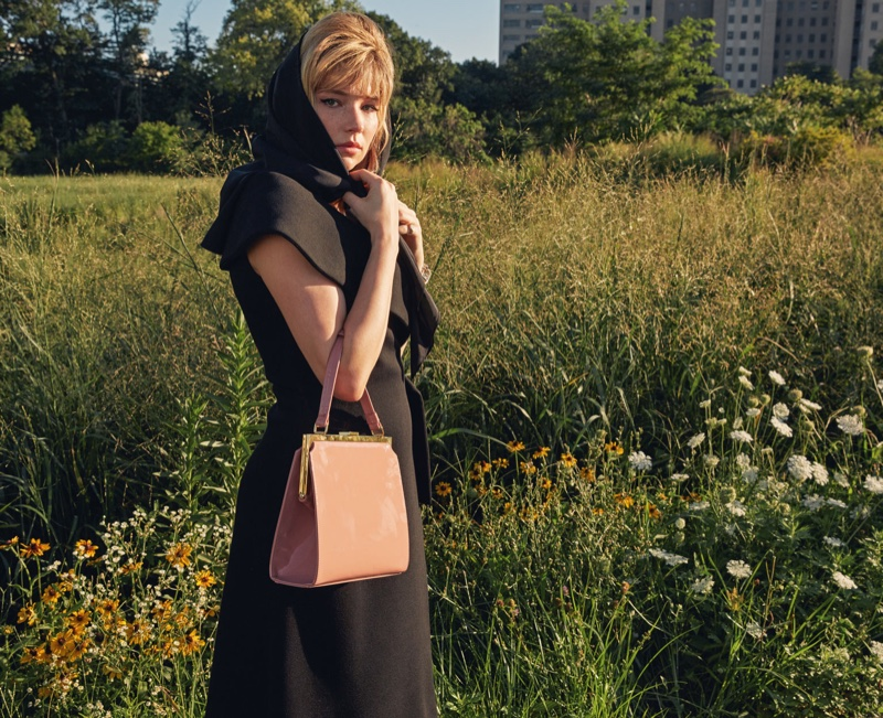 Haley Bennett covers up in black scarf, Beaufille dress and Mansur Gavriel bag