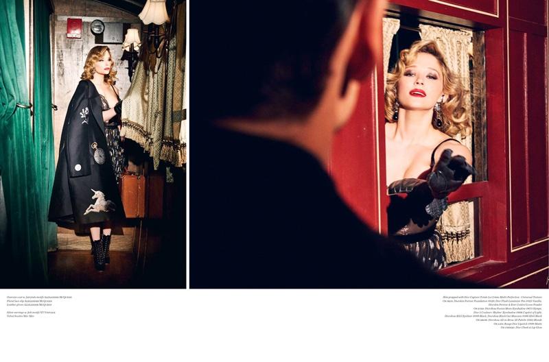 Haley Bennett poses in Alexander McQueen coat, dress and slip