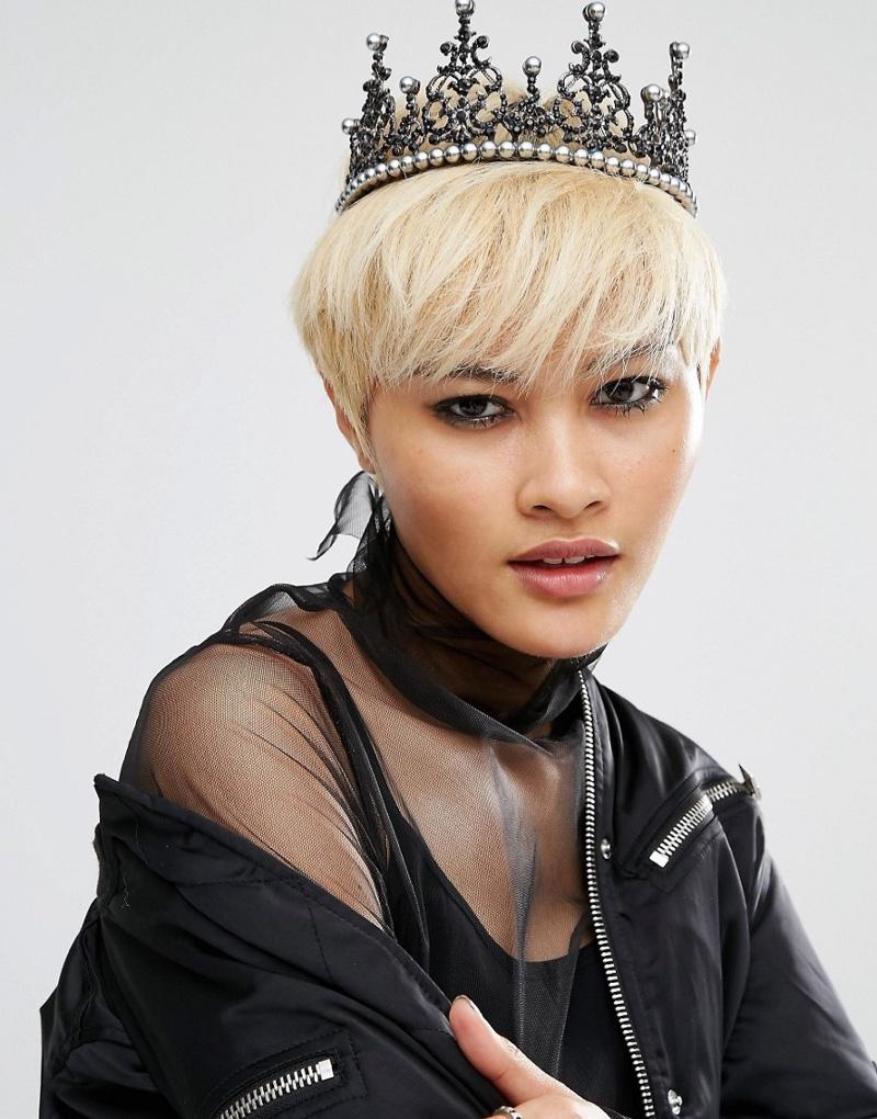 Regal Rose Halloween Witch Hunter Black Pearl Crown