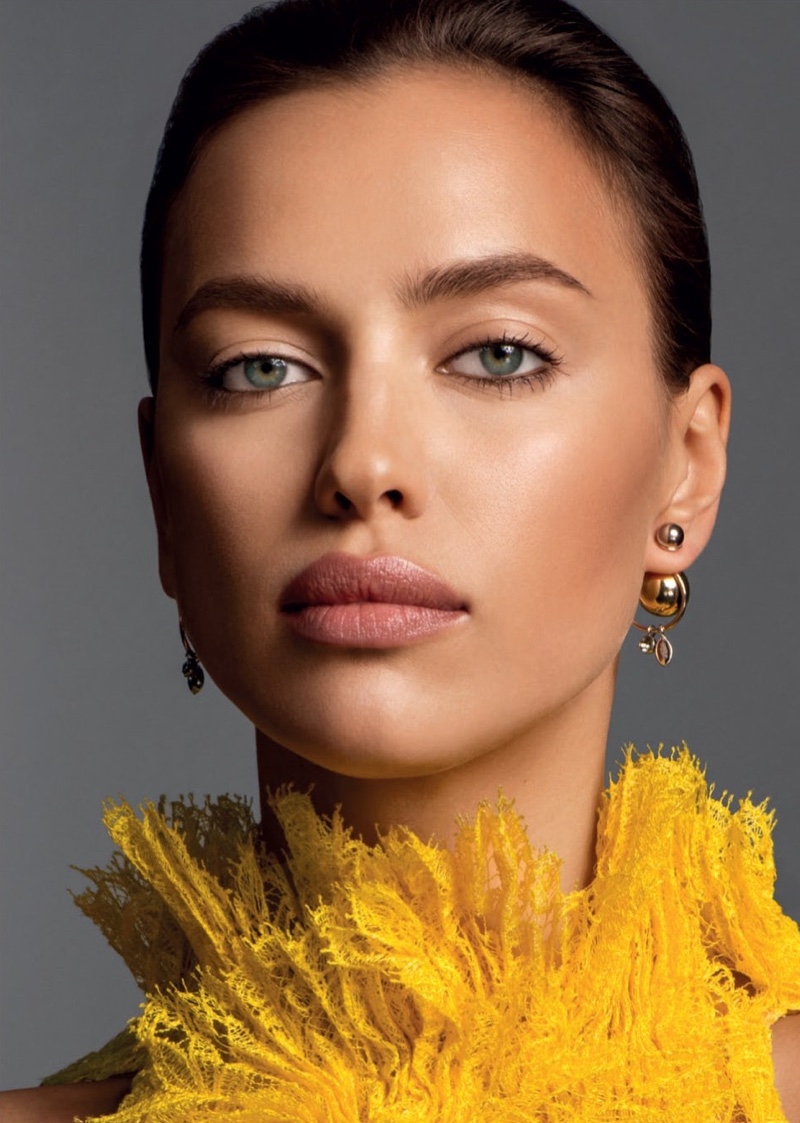 Irina Shayk models fall makeup looks for the editorial