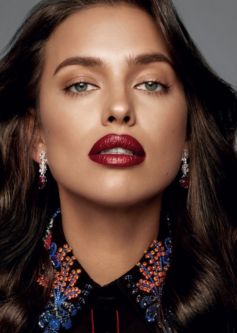 Irina Shayk wears glossy dark red lip shade