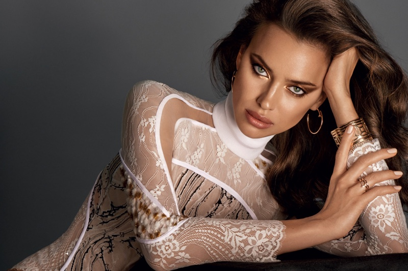 Irina Shayk wears high neck blouse
