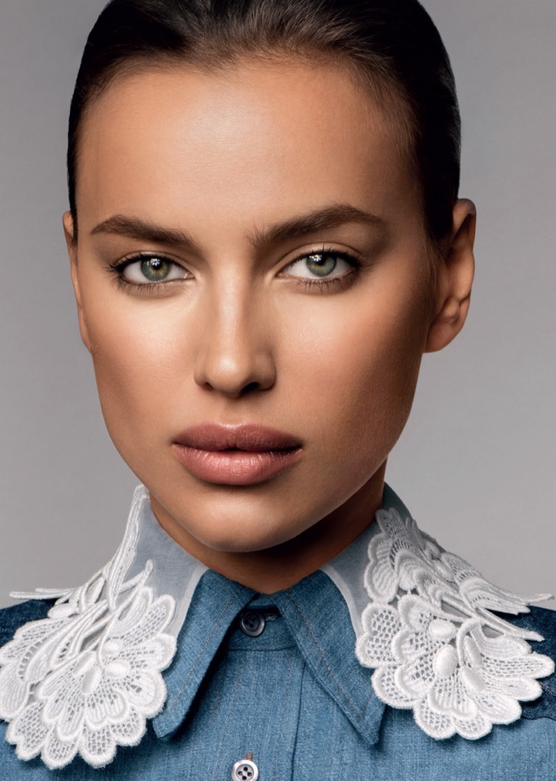 Irina Shayk looks flawless with a bronzed makeup look