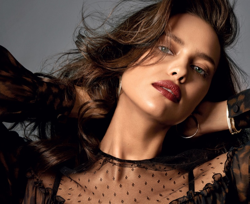 Model Irina Shayk wears her hair in bombshell waves