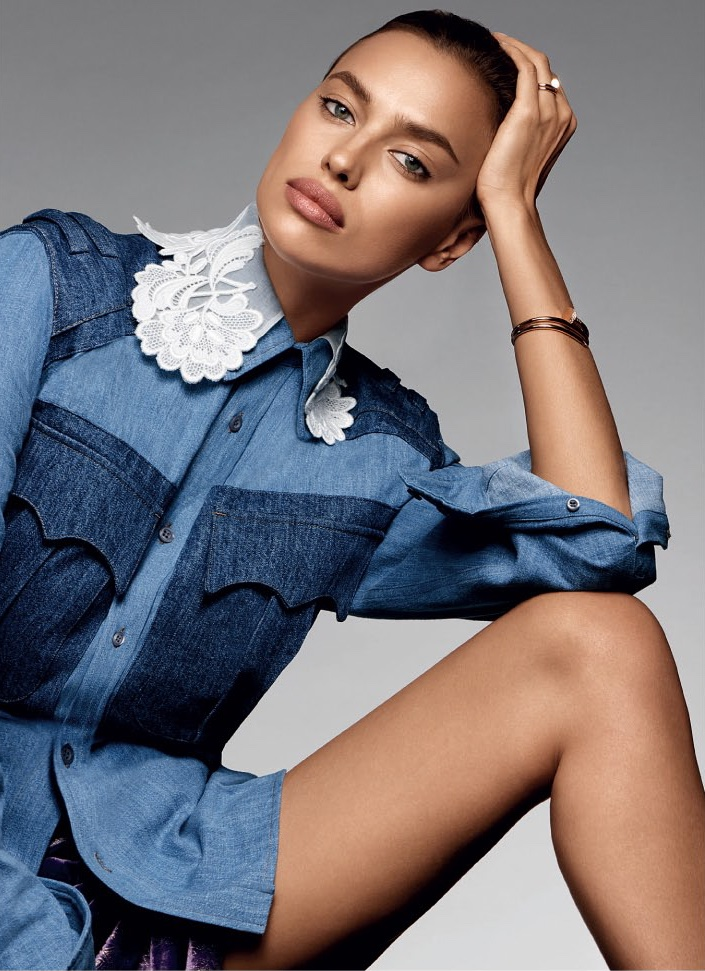 Irina Shayk models denim and lace jacket from Miu Miu