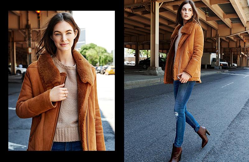 IRO Barrett Shearling Coat, IRO, Lish Sweater, IRO Jeans Nevada Jeans and IRO Lieve Booties