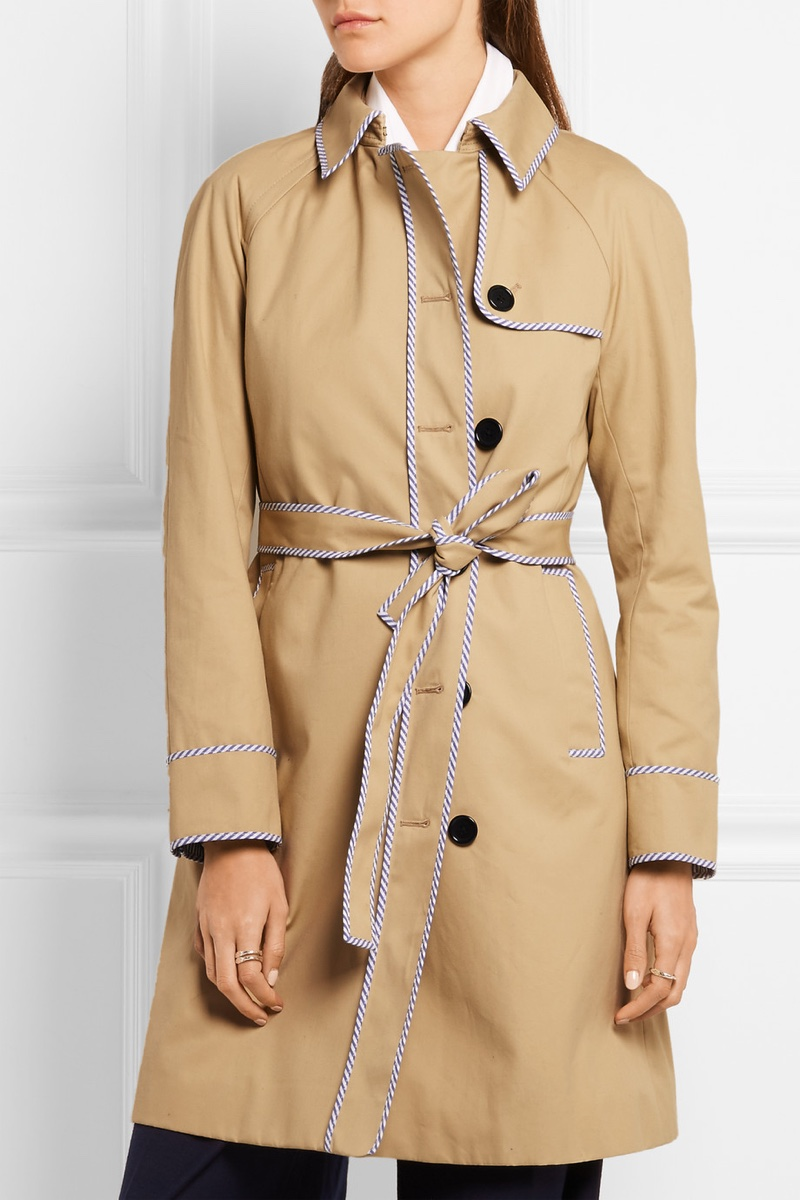 J. Crew Hawthorne Stripe Trimmed Cotton Twill Trench Coat