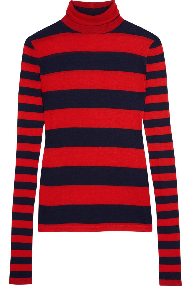 J. Crew Striped Tencel Cashmere Blend Turtleneck Sweater