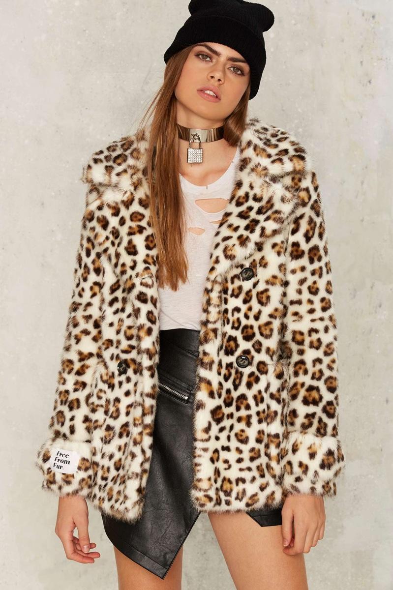 Jakke Marsha Leopard Print Faux Fur Coat