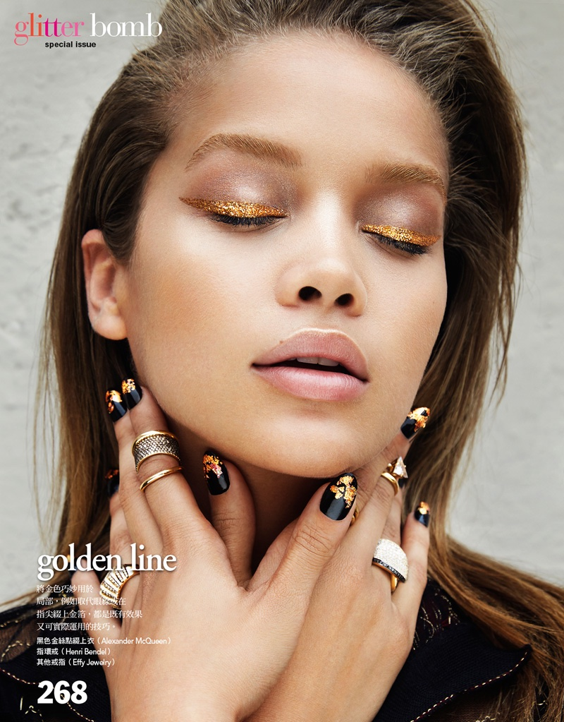 Jasmine Sanders Shines in Metallic Beauty Looks for Vogue ...