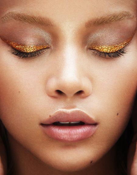 Jasmine Sanders Shines in Metallic Beauty Looks for Vogue Taiwan