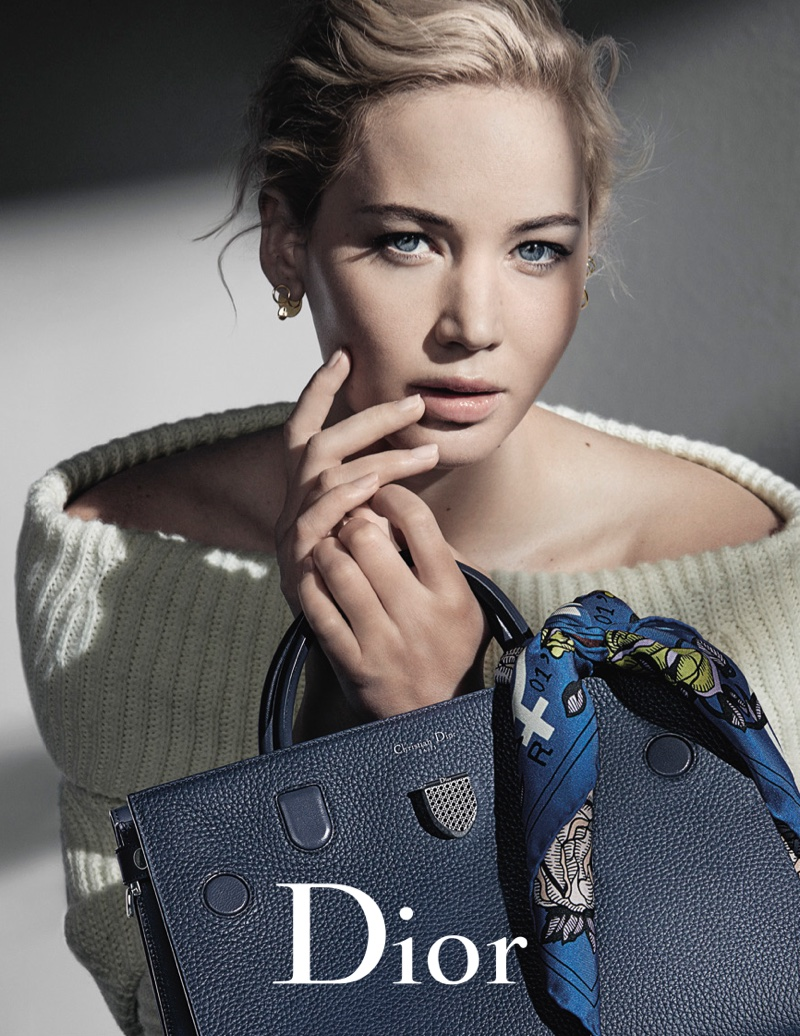 Jennifer Lawrence looks cozy in off-the-shoulder sweater for Dior's fall 2016 handbag campaign