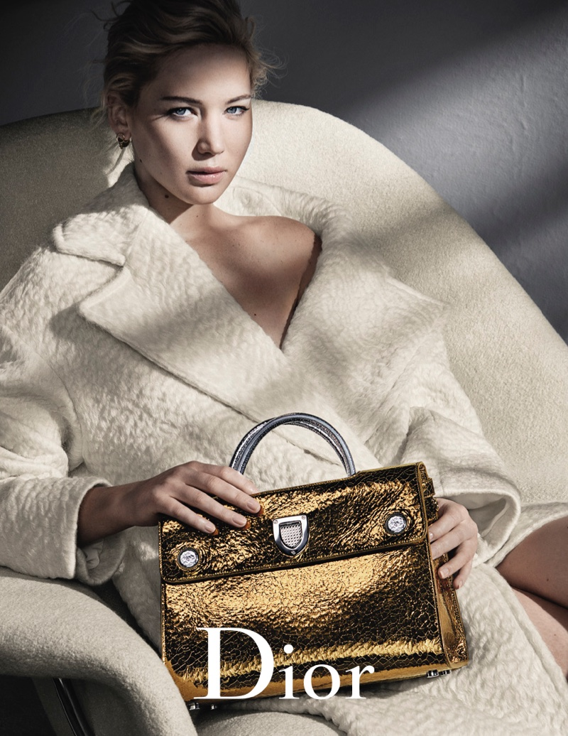 Jennifer Lawrence looks cozy in Dior cream coat for fall 2016 advertising campaign