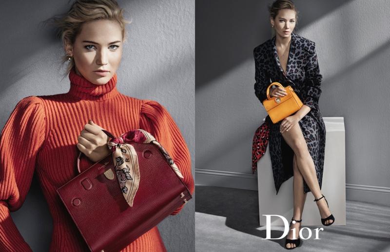 Dior ambassador Jennifer Lawrence poses with the Diorever handbag