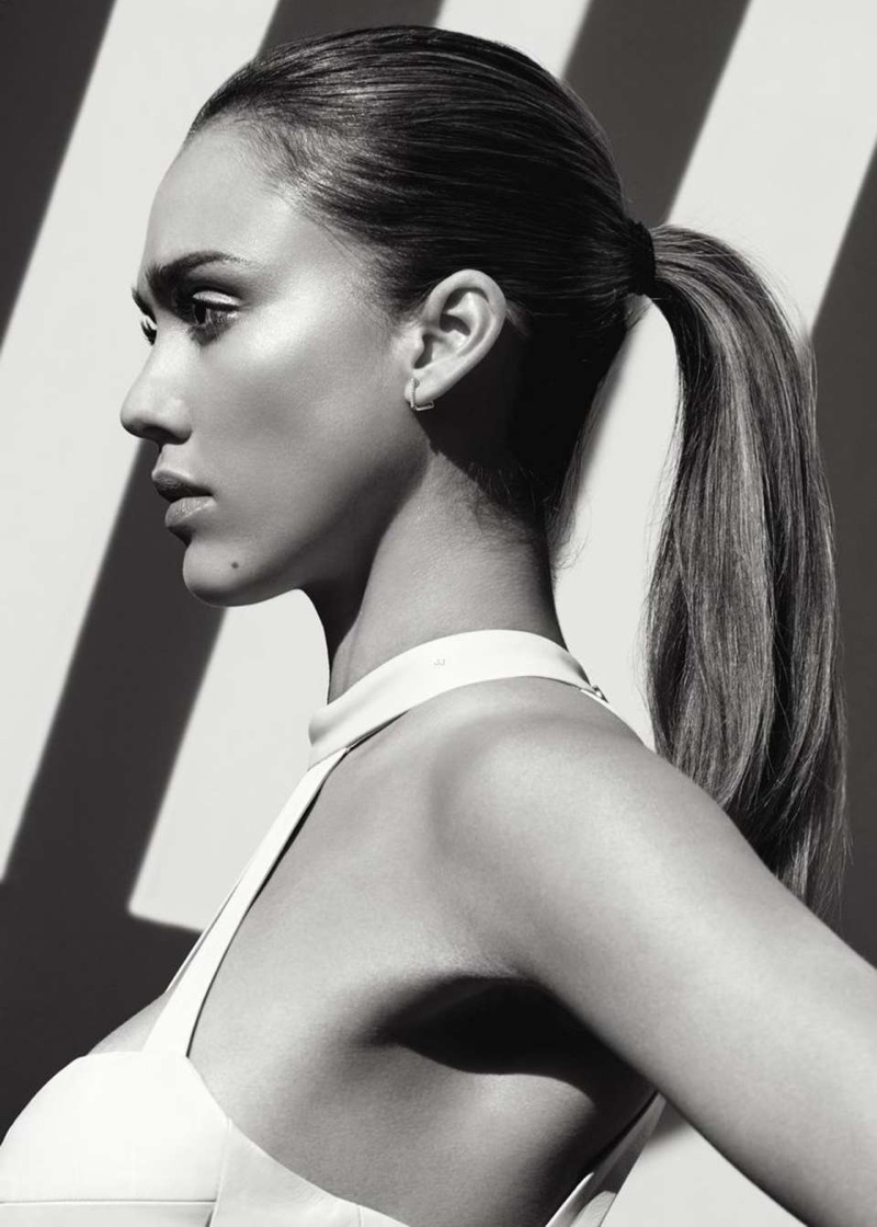Actress Jessica Alba shows off a sleek ponytail hairstyle