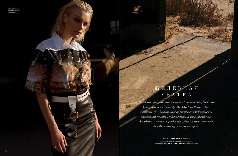 Jessica Stam poses in Prada shirt, skirt and belt