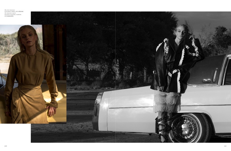 (Left) Jessica Stam wears Celine Tunic and skirt (Right) Model poses in Rodarte jacket, boots and dress