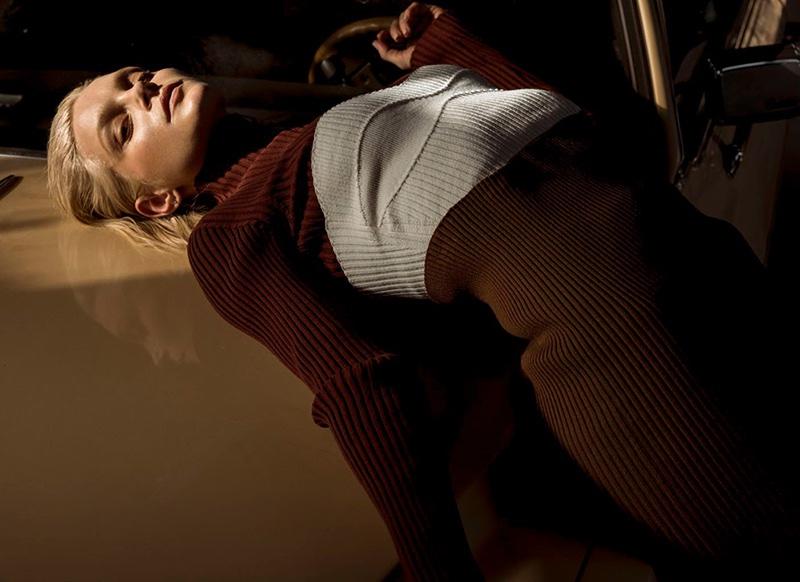 Jessica Stam poses in rib-knit Victoria Beckham dress