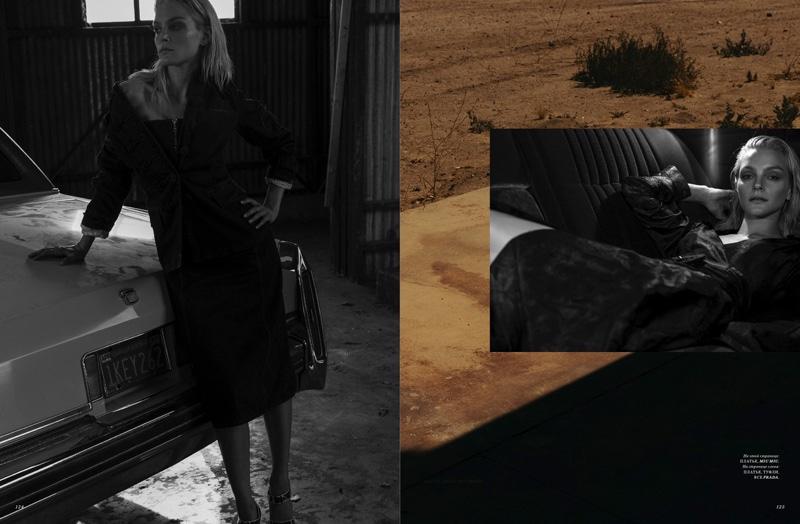 (Left) Jessica Stam wears total look Prada (Right) Model poses in Miu Miu dress