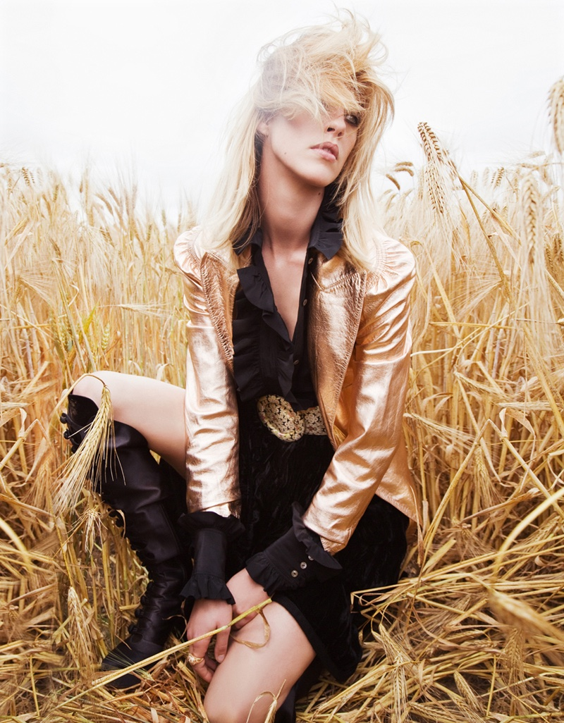 Julia Frauche heads outdoors in gold Lanvin jacket, Saint Laurent dress and Gianvito Rossi boots