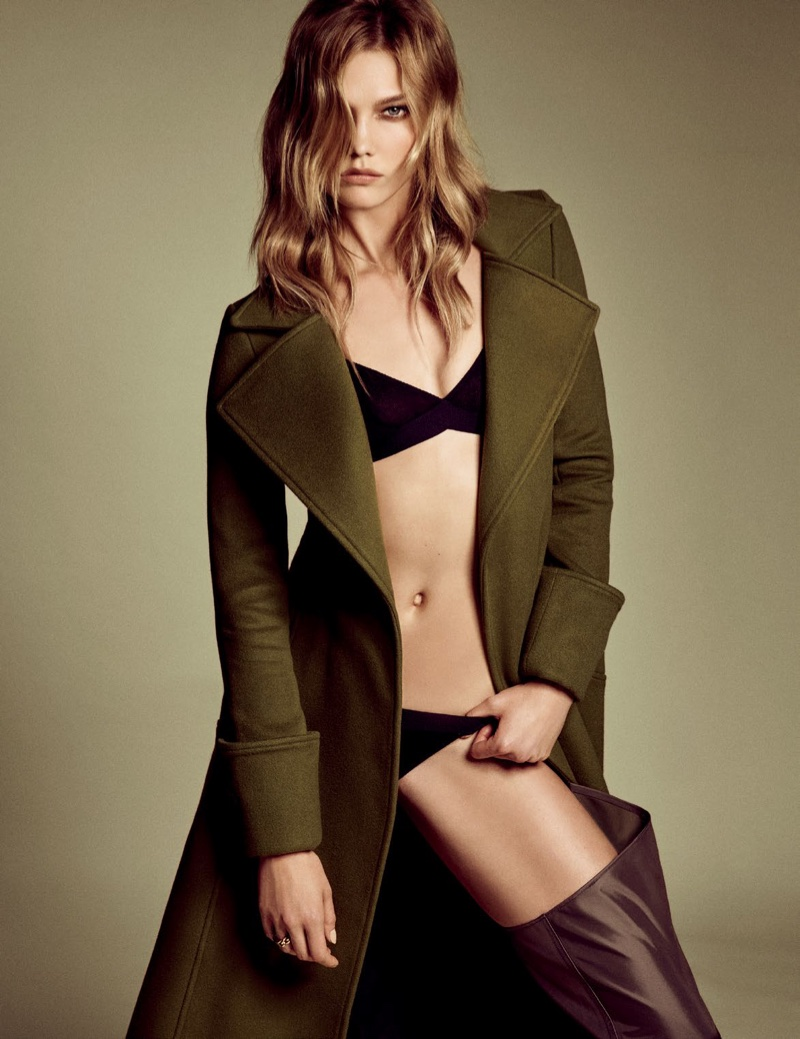 Karlie Kloss wears Dior coat with bikini top and bottoms
