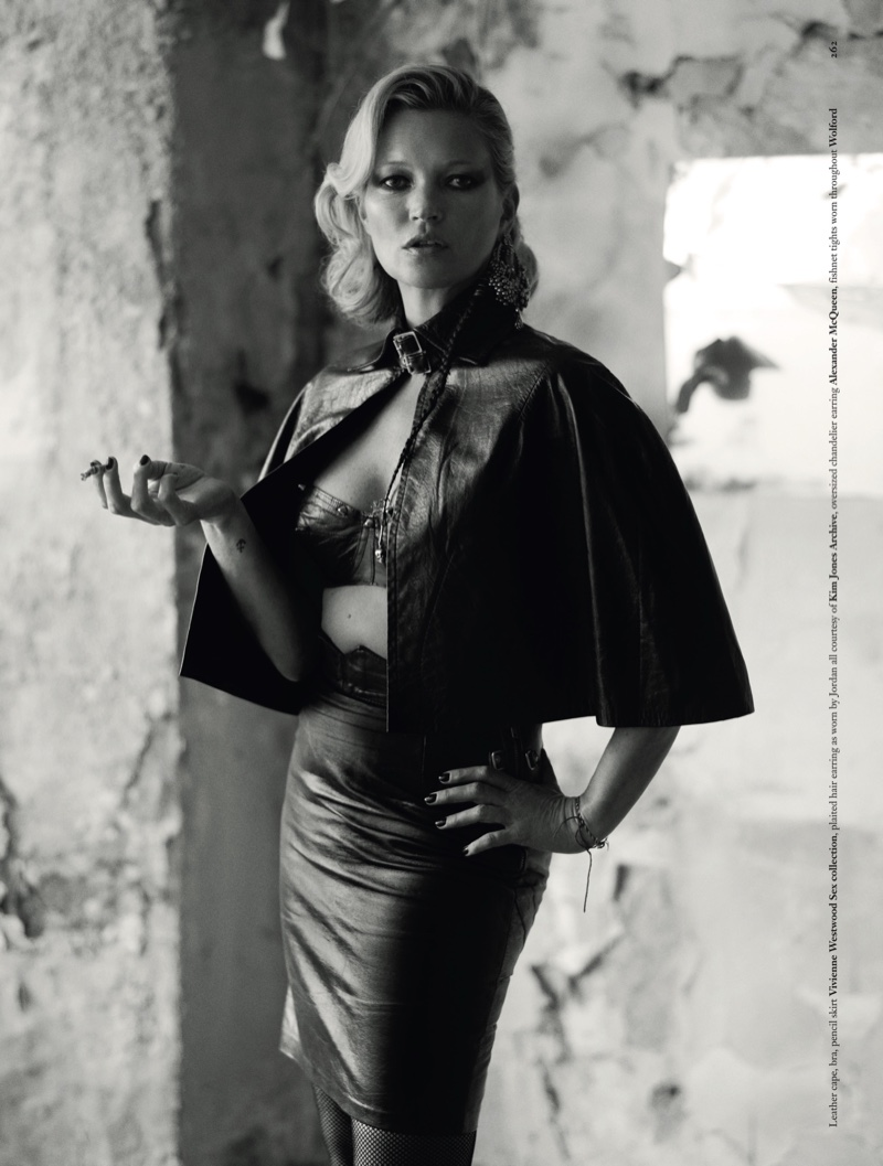 Supermodel Kate Moss poses in rock and roll inspired looks for the fashion editorial