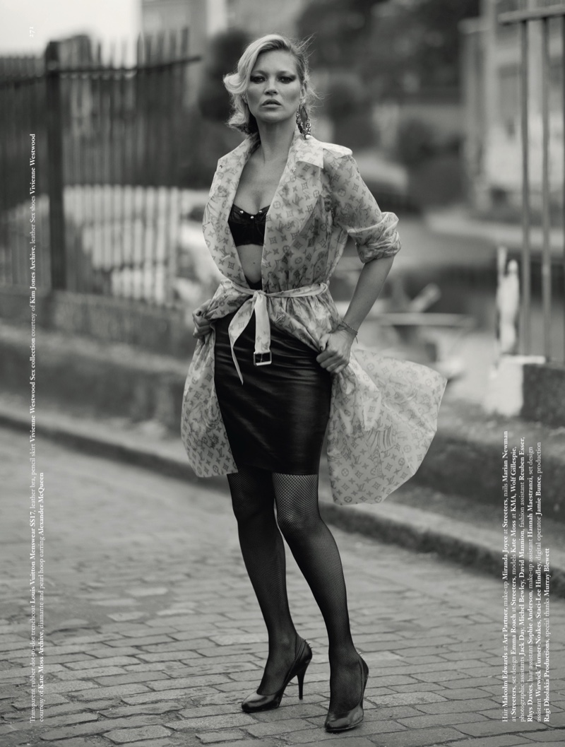 Supermodel Kate Moss wears Louis Vuitton trenchcoat with Vivienne Westwood Sex collection leather bra and pencil skirt