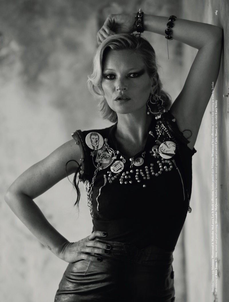 Kate Moss wears Vivienne Westwood & Malcolm McLaren Let It Rock top with Vivienne Westwood Sex collection leather skirt