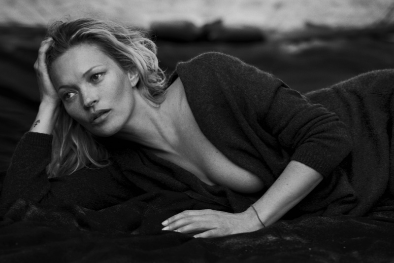 Kate Moss poses in Naked Cashmere advertising campaign