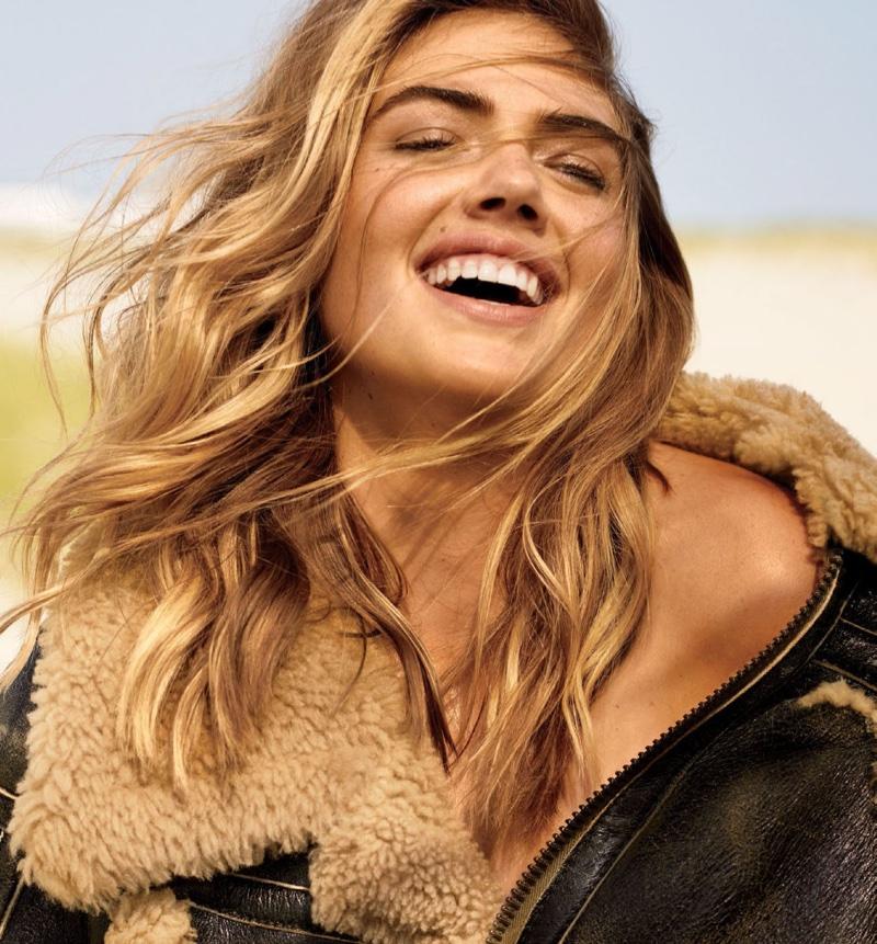Model Kate Upton wears Maison Margiela cape