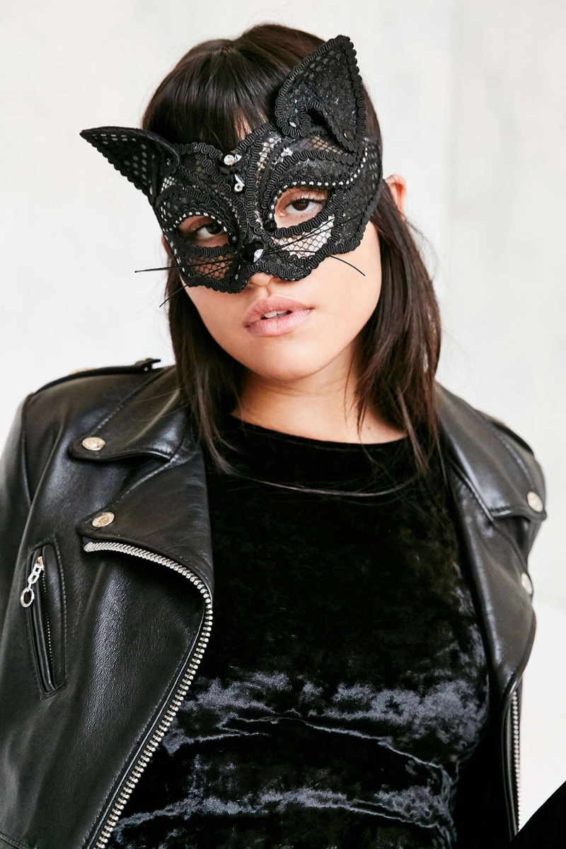Urban Outfitters Lace Black Cat Mask