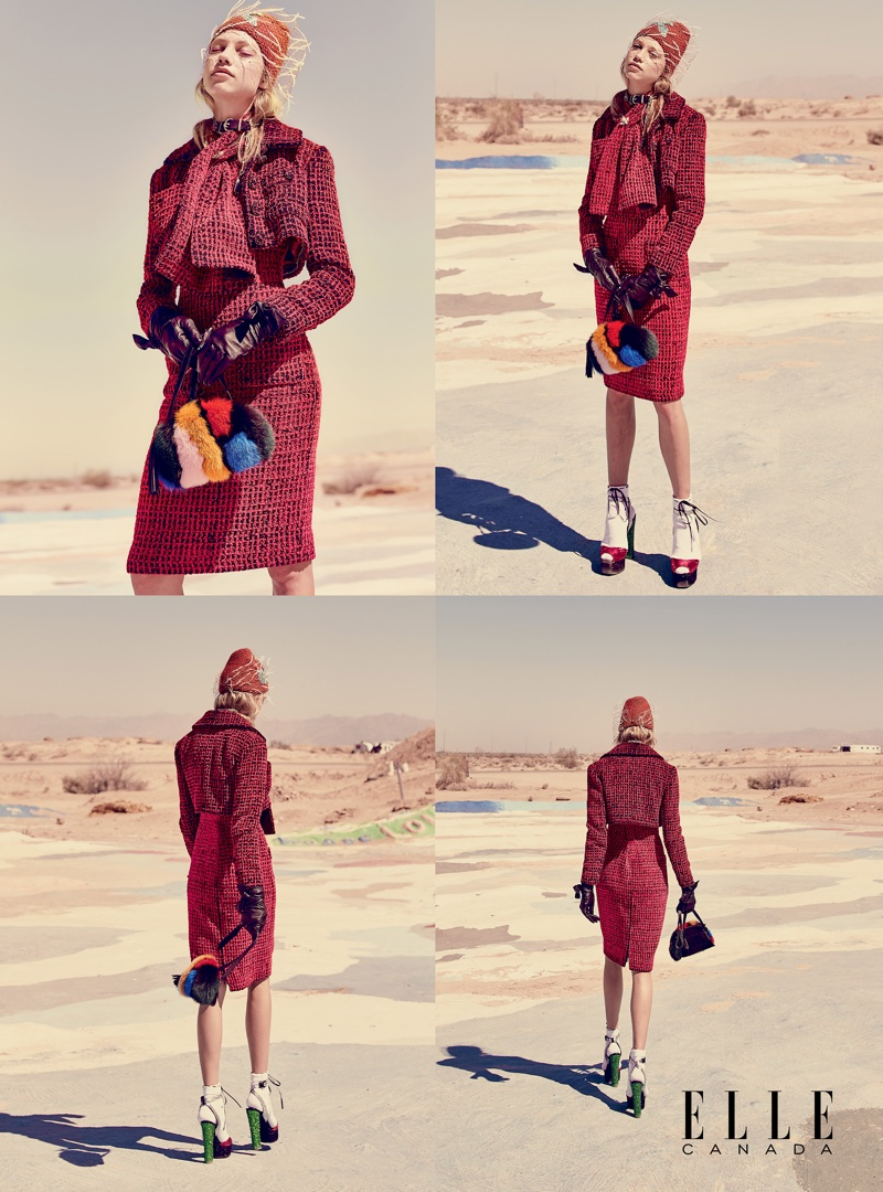 Laura Schellenberg models tweed jacket, dress, scarf and gloves from Chanel with Giuseppe Zanotti platform sandals