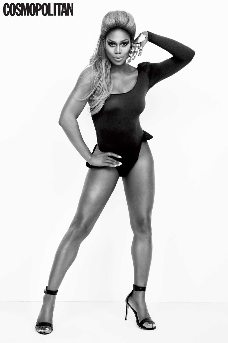 Laverne Cox takes on Beyonce's Single Ladies music video look for Cosmopolitan Magazine
